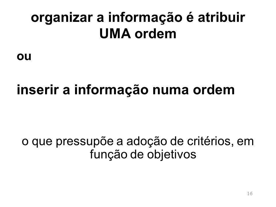 organizar a informação é atribuir UMA ordem