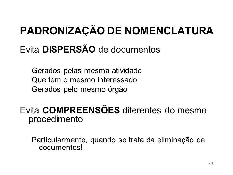 PADRONIZAÇÃO DE NOMENCLATURA