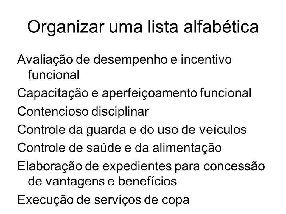 Organizar uma lista alfabética
