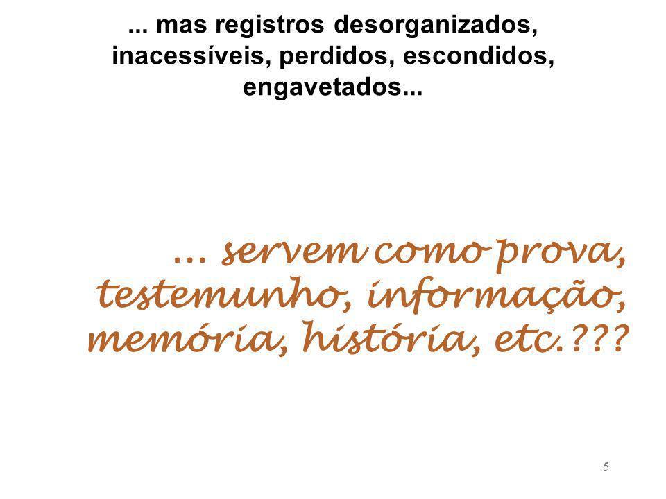 ... mas registros desorganizados, inacessíveis, perdidos, escondidos, engavetados...