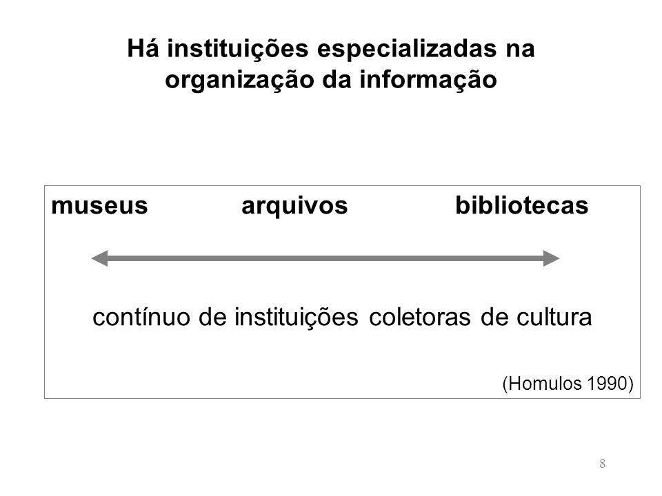 Há instituições especializadas na organização da informação