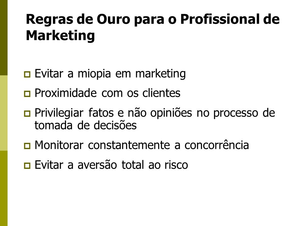 Regras de Ouro para o Profissional de Marketing