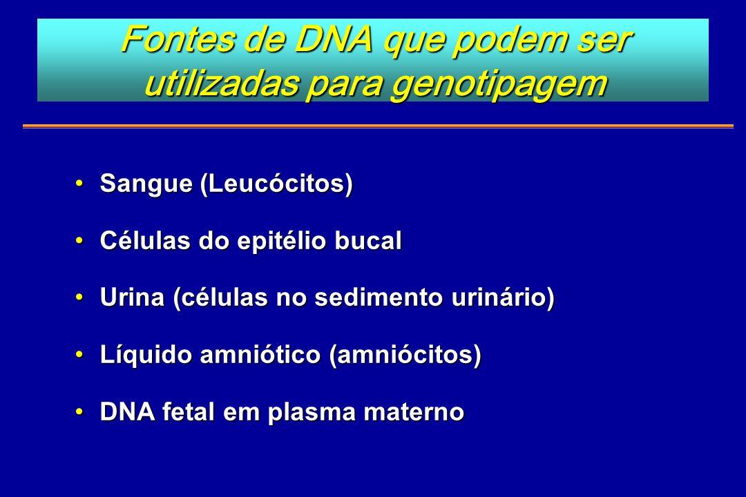 Fontes de DNA que podem ser utilizadas para genotipagem