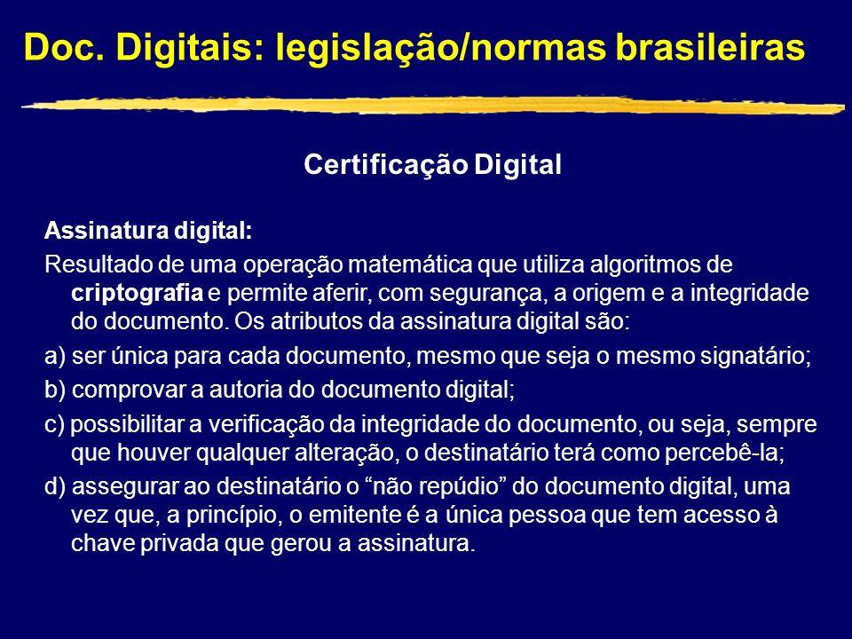 Certificação Digital Assinatura digital: