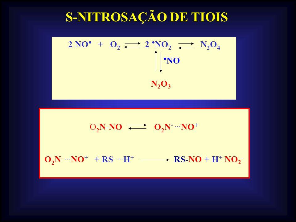 S-NITROSAÇÃO DE TIOIS 2 NO + O2 2 NO2 N2O4 NO O2N-NO O2N- NO+