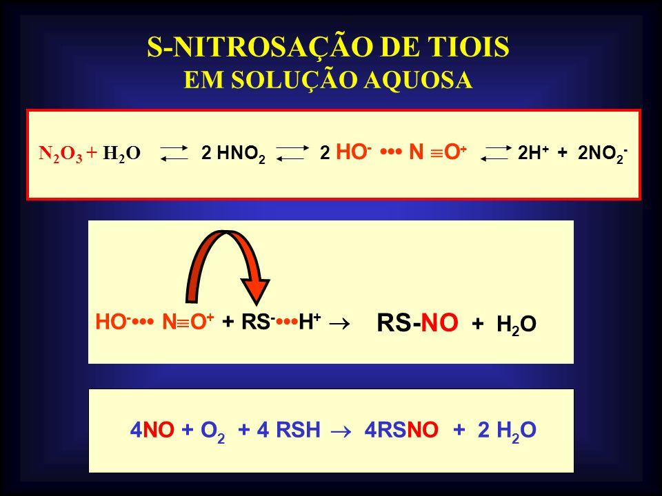 S-NITROSAÇÃO DE TIOIS EM SOLUÇÃO AQUOSA RS-NO + H2O