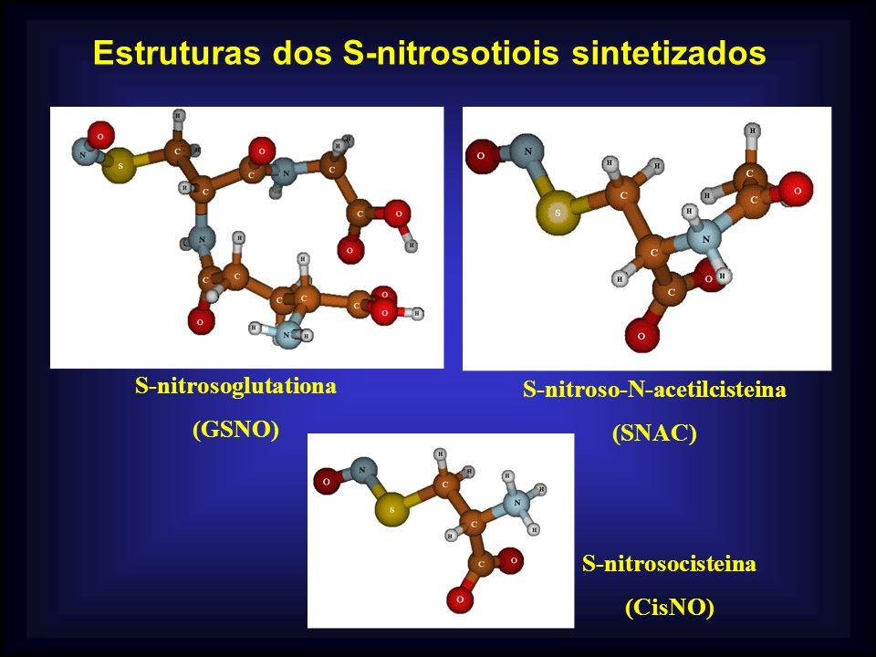Estruturas dos S-nitrosotiois sintetizados S-nitroso-N-acetilcisteina