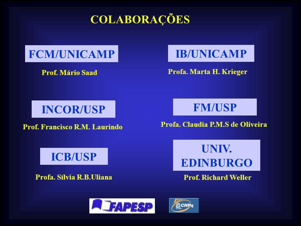 COLABORAÇÕES FCM/UNICAMP IB/UNICAMP FM/USP INCOR/USP UNIV. EDINBURGO