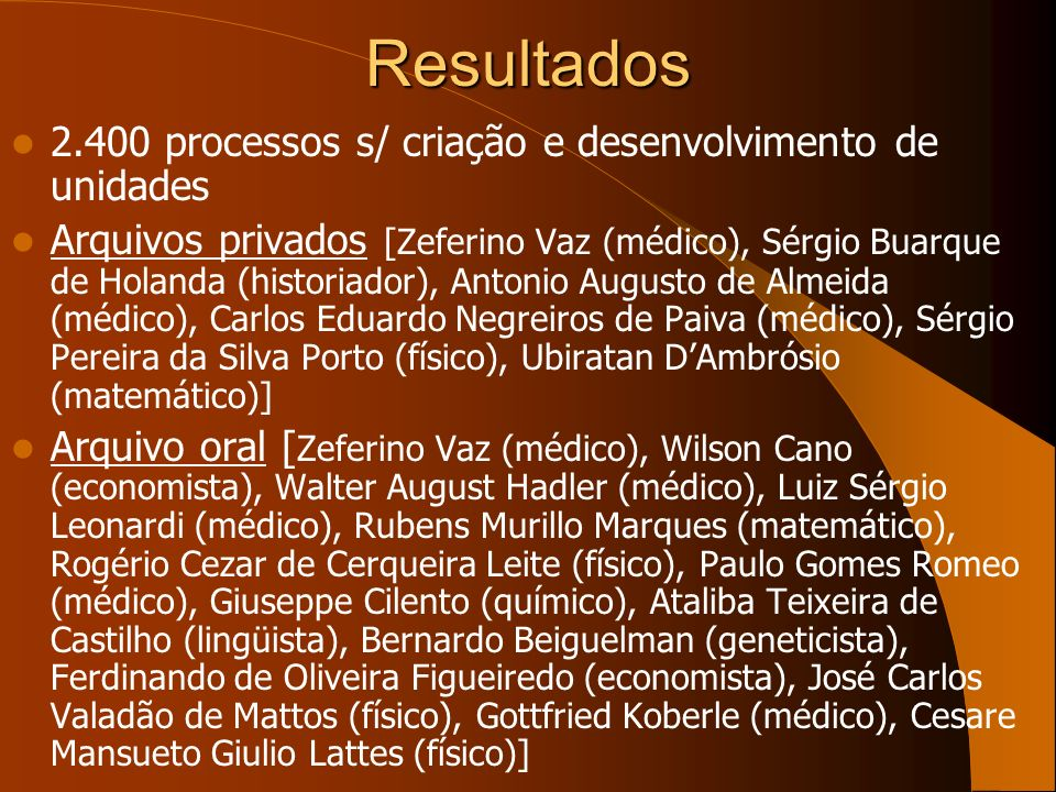 Resultados 2.400 processos s/ criação e desenvolvimento de unidades