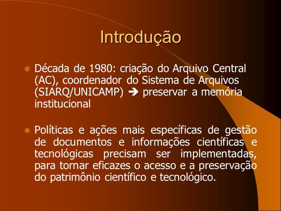 Introdução Década de 1980: criação do Arquivo Central (AC), coordenador do Sistema de Arquivos (SIARQ/UNICAMP)  preservar a memória institucional.