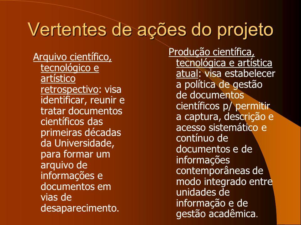 Vertentes de ações do projeto