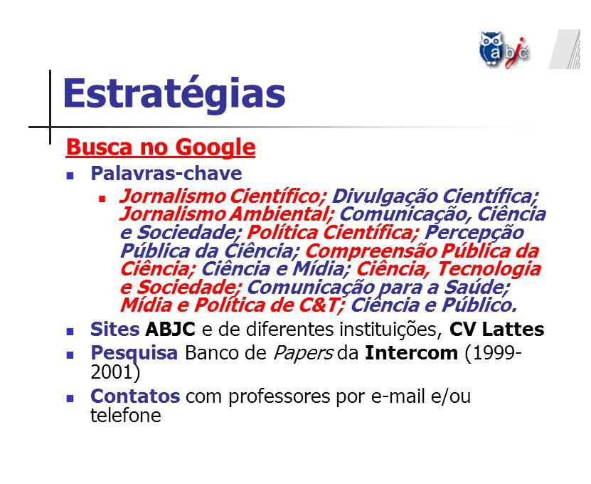 Estratégias Busca no Google Palavras-chave