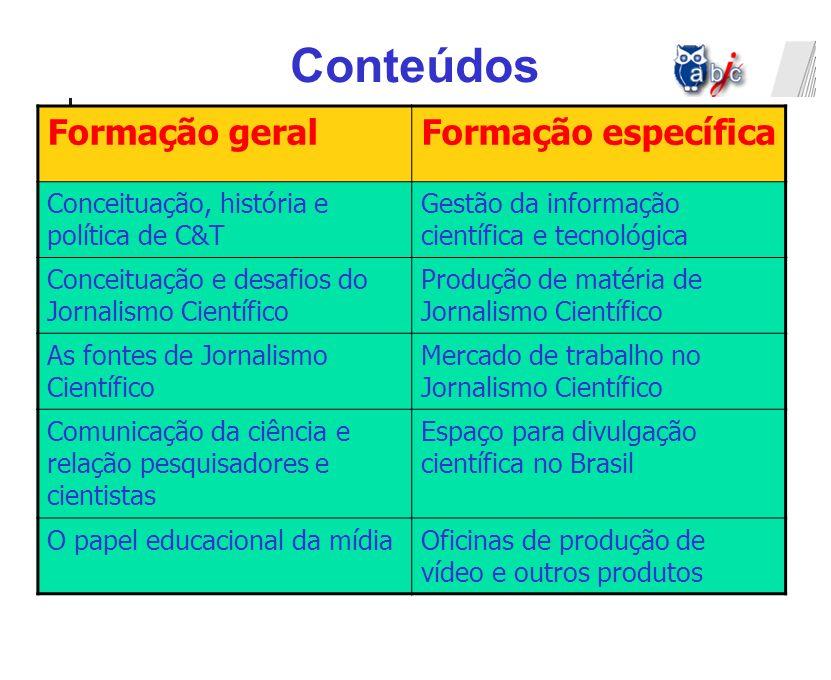 Conteúdos Formação geral Formação específica