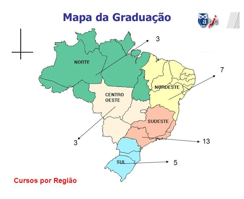 Mapa da Graduação 3 7 3 13 5 Cursos por Região