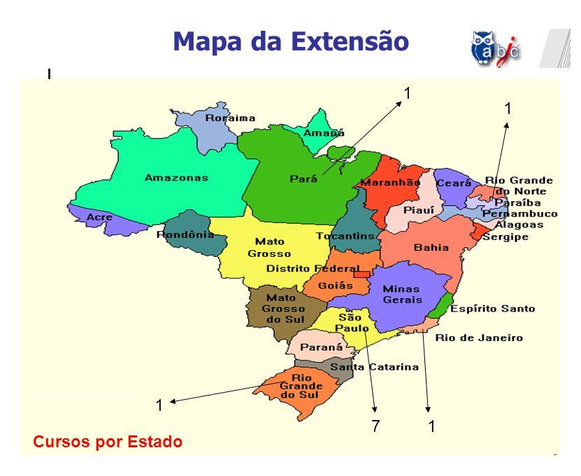 Mapa da Extensão 1 1 1 7 1 Cursos por Estado