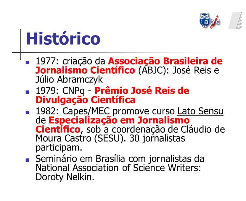 Histórico 1977: criação da Associação Brasileira de Jornalismo Científico (ABJC): José Reis e Júlio Abramczyk.