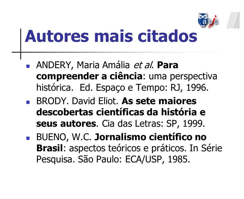 Autores mais citados ANDERY, Maria Amália et al. Para compreender a ciência: uma perspectiva histórica. Ed. Espaço e Tempo: RJ, 1996.