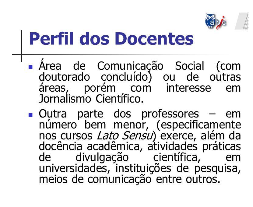 Perfil dos Docentes Área de Comunicação Social (com doutorado concluído) ou de outras áreas, porém com interesse em Jornalismo Científico.
