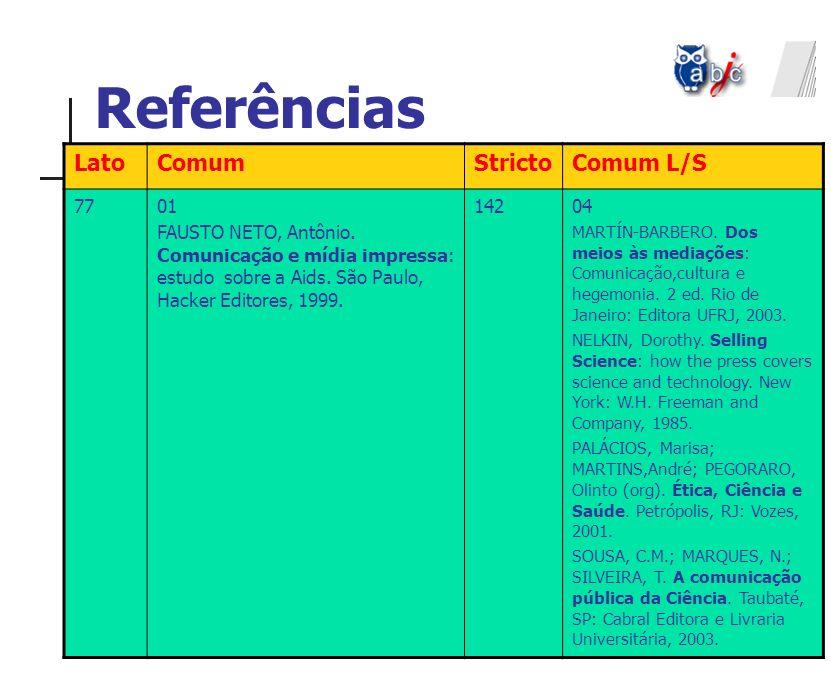 Referências Lato Comum Stricto Comum L/S 77 01
