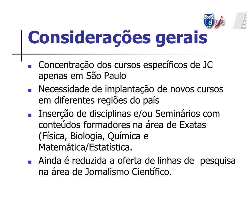 Considerações gerais Concentração dos cursos específicos de JC apenas em São Paulo.