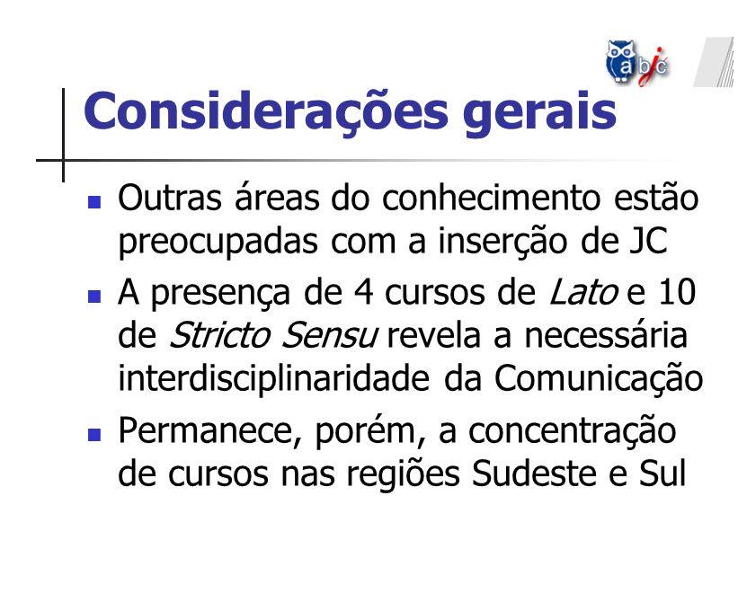 Considerações gerais Outras áreas do conhecimento estão preocupadas com a inserção de JC.