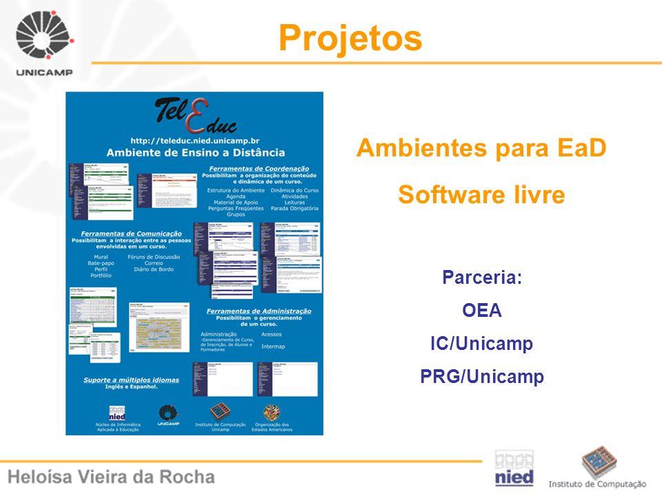 Projetos Ambientes para EaD Software livre Parceria: OEA IC/Unicamp