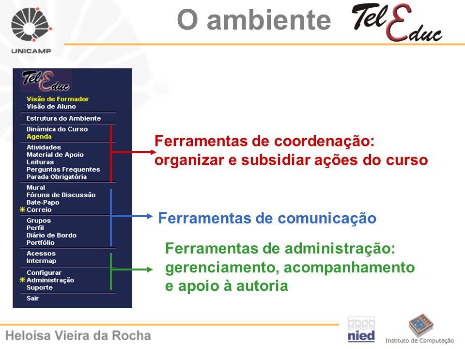 O ambiente Ferramentas de coordenação: organizar e subsidiar ações do curso. Ferramentas de comunicação.