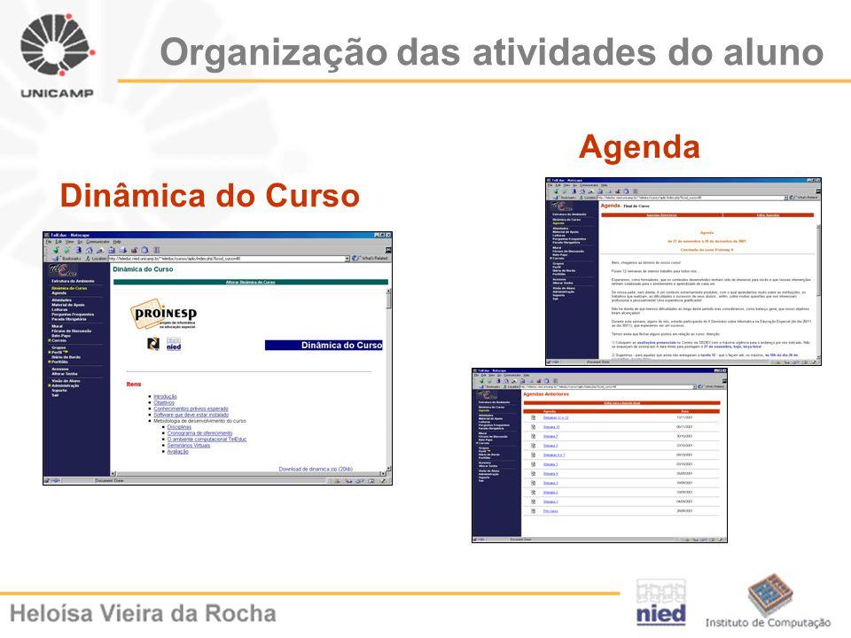 Organização das atividades do aluno