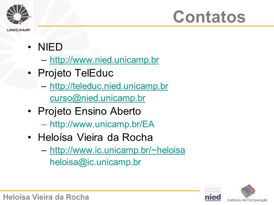 Contatos NIED Projeto TelEduc Projeto Ensino Aberto