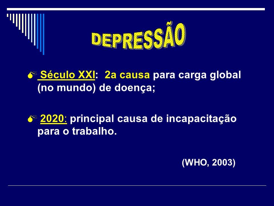 DEPRESSÃO Século XXI: 2a causa para carga global (no mundo) de doença;