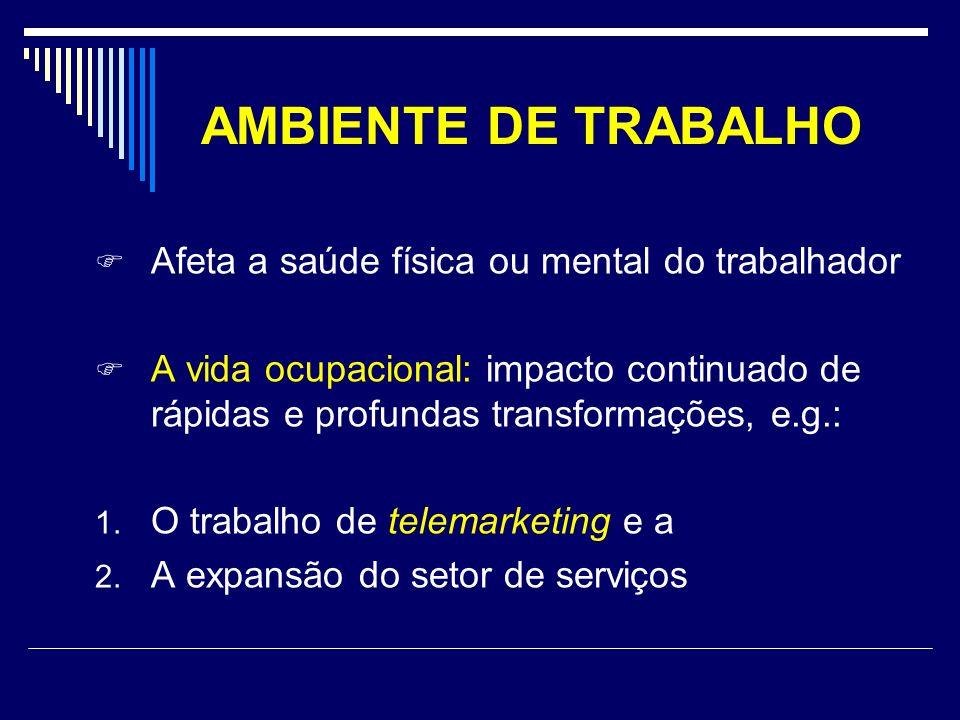 AMBIENTE DE TRABALHO Afeta a saúde física ou mental do trabalhador