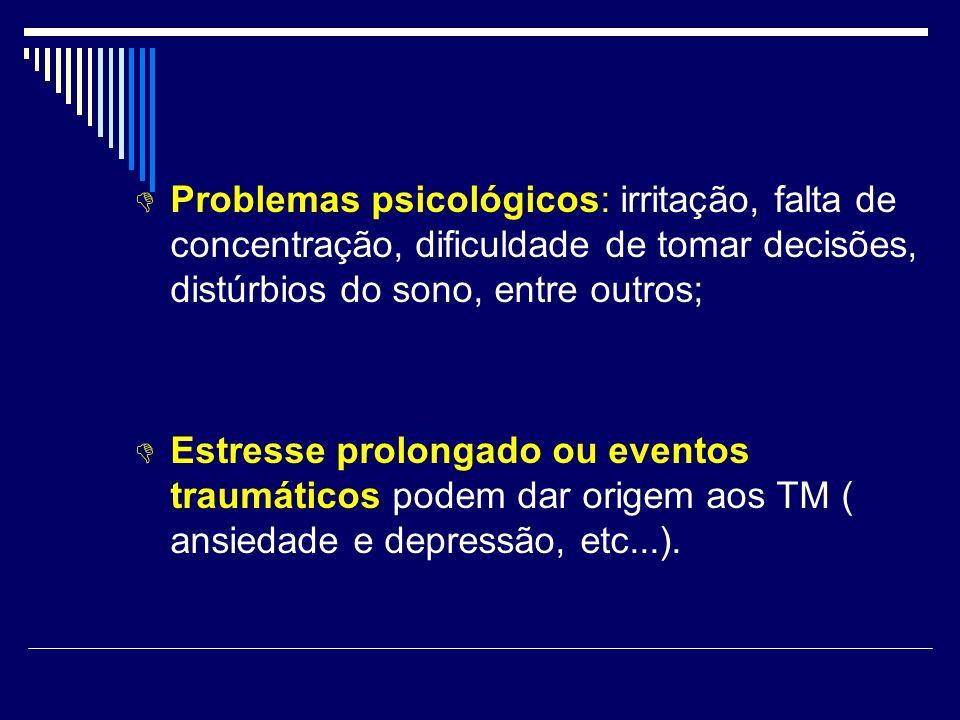 Problemas psicológicos: irritação, falta de concentração, dificuldade de tomar decisões, distúrbios do sono, entre outros;