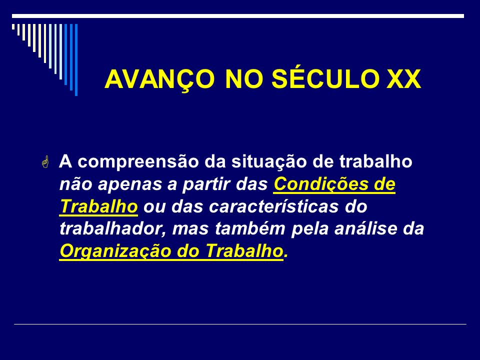 AVANÇO NO SÉCULO XX