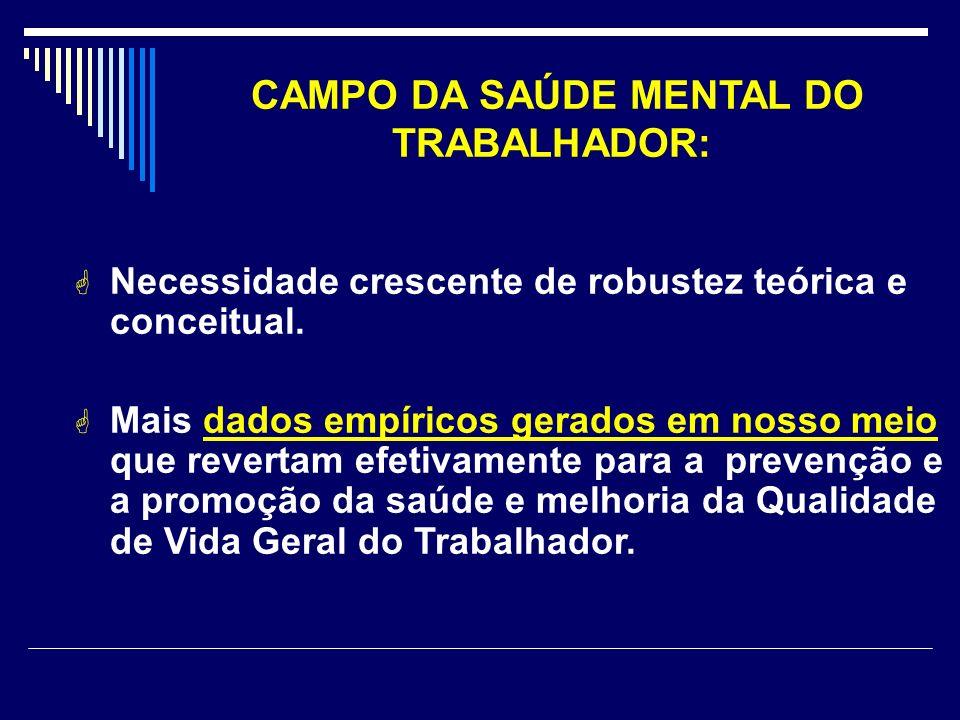 CAMPO DA SAÚDE MENTAL DO TRABALHADOR: