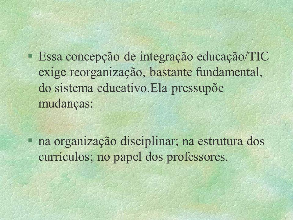 Essa concepção de integração educação/TIC exige reorganização, bastante fundamental, do sistema educativo.Ela pressupõe mudanças: