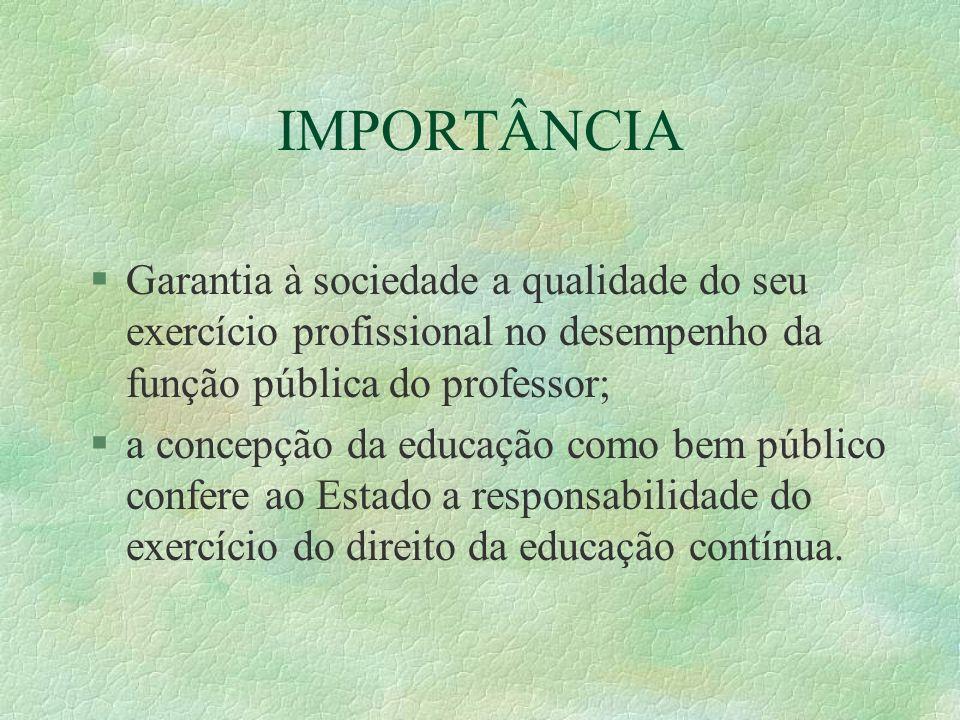 IMPORTÂNCIA Garantia à sociedade a qualidade do seu exercício profissional no desempenho da função pública do professor;