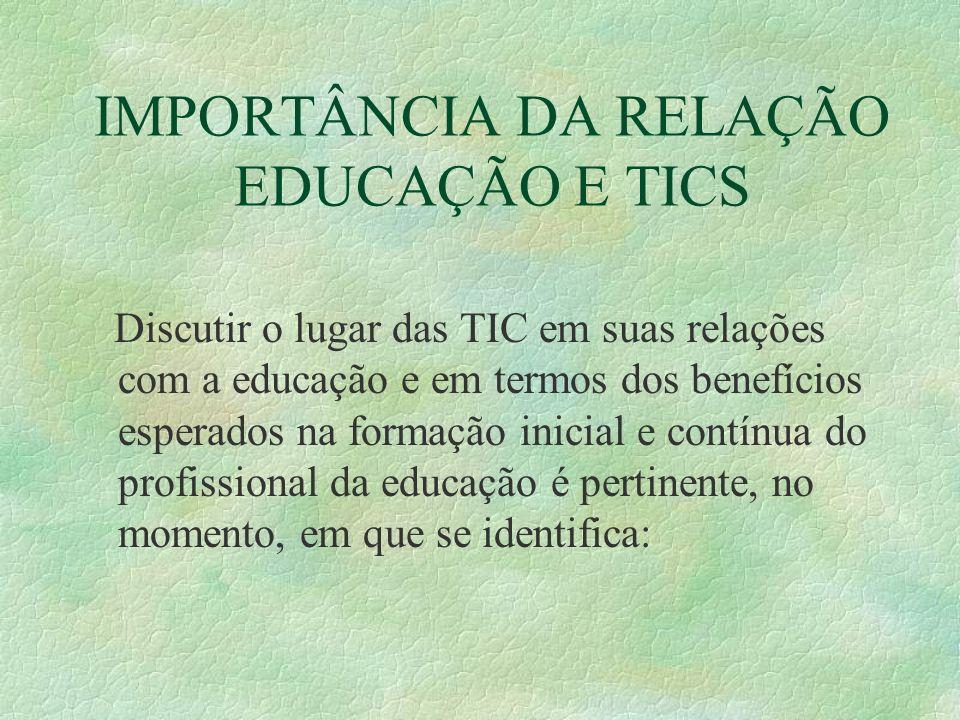 IMPORTÂNCIA DA RELAÇÃO EDUCAÇÃO E TICS