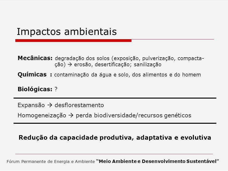 Redução da capacidade produtiva, adaptativa e evolutiva