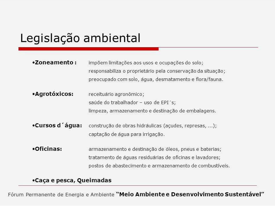 Legislação ambiental Zoneamento : impõem limitações aos usos e ocupações do solo; responsabiliza o proprietário pela conservação da situação;
