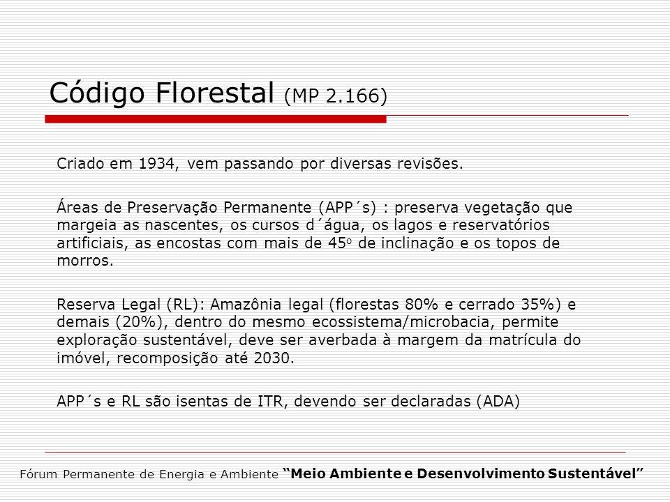 Código Florestal (MP 2.166)Criado em 1934, vem passando por diversas revisões.