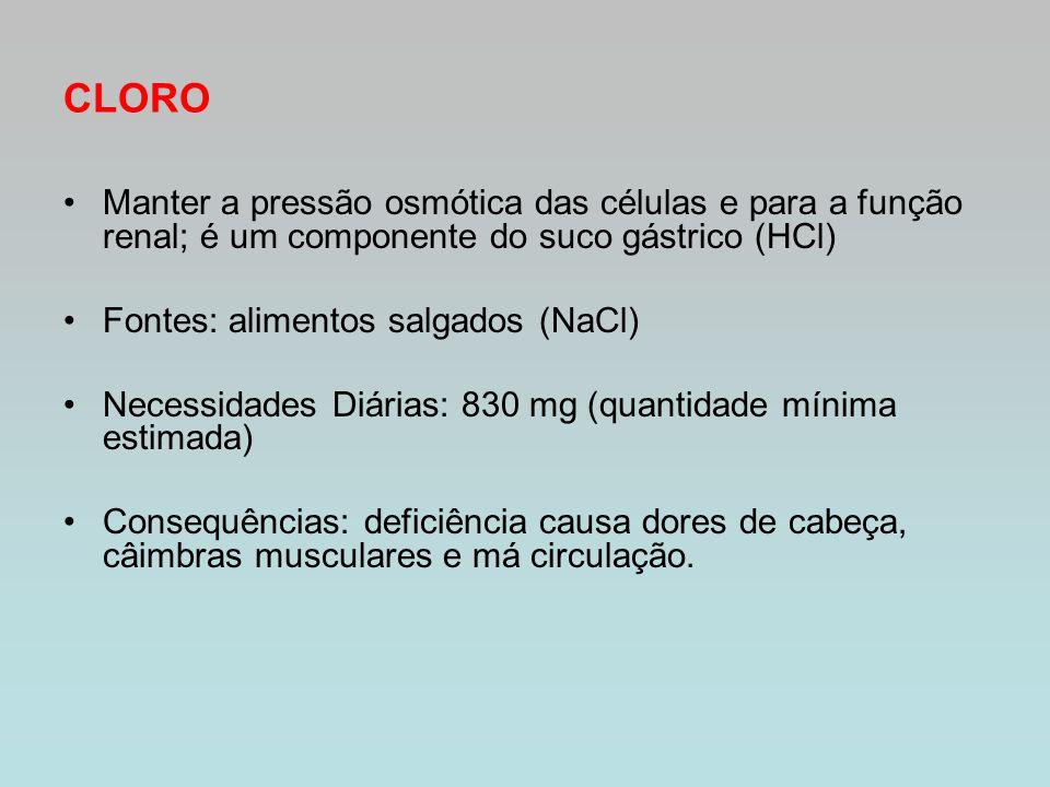 CLORO Manter a pressão osmótica das células e para a função renal; é um componente do suco gástrico (HCl)