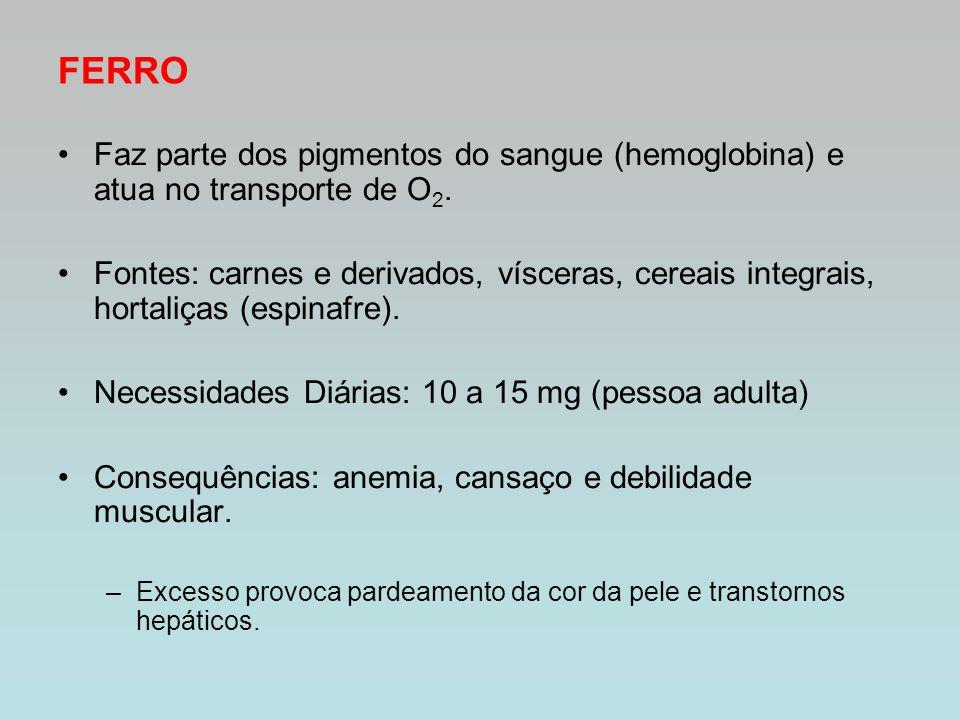 FERRO Faz parte dos pigmentos do sangue (hemoglobina) e atua no transporte de O2.