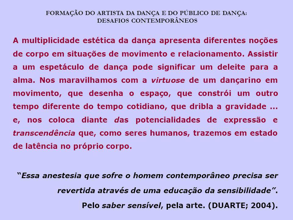 Pelo saber sensível, pela arte. (DUARTE; 2004).