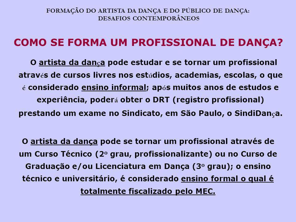 COMO SE FORMA UM PROFISSIONAL DE DANÇA