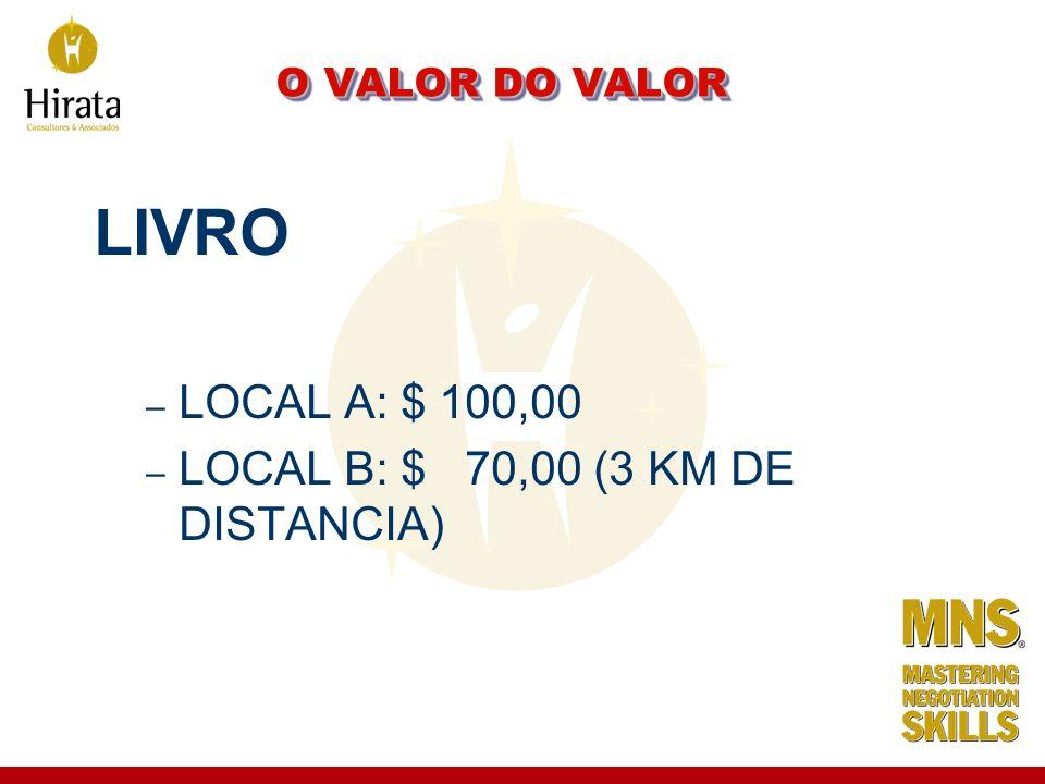 LIVRO LOCAL A: $ 100,00 LOCAL B: $ 70,00 (3 KM DE DISTANCIA)