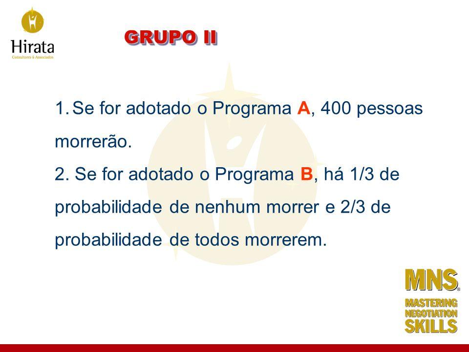 GRUPO II Se for adotado o Programa A, 400 pessoas. morrerão. 2. Se for adotado o Programa B, há 1/3 de.