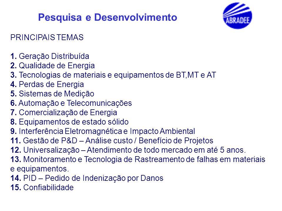 PRINCIPAIS TEMAS 1. Geração Distribuída. 2. Qualidade de Energia. 3. Tecnologias de materiais e equipamentos de BT,MT e AT.