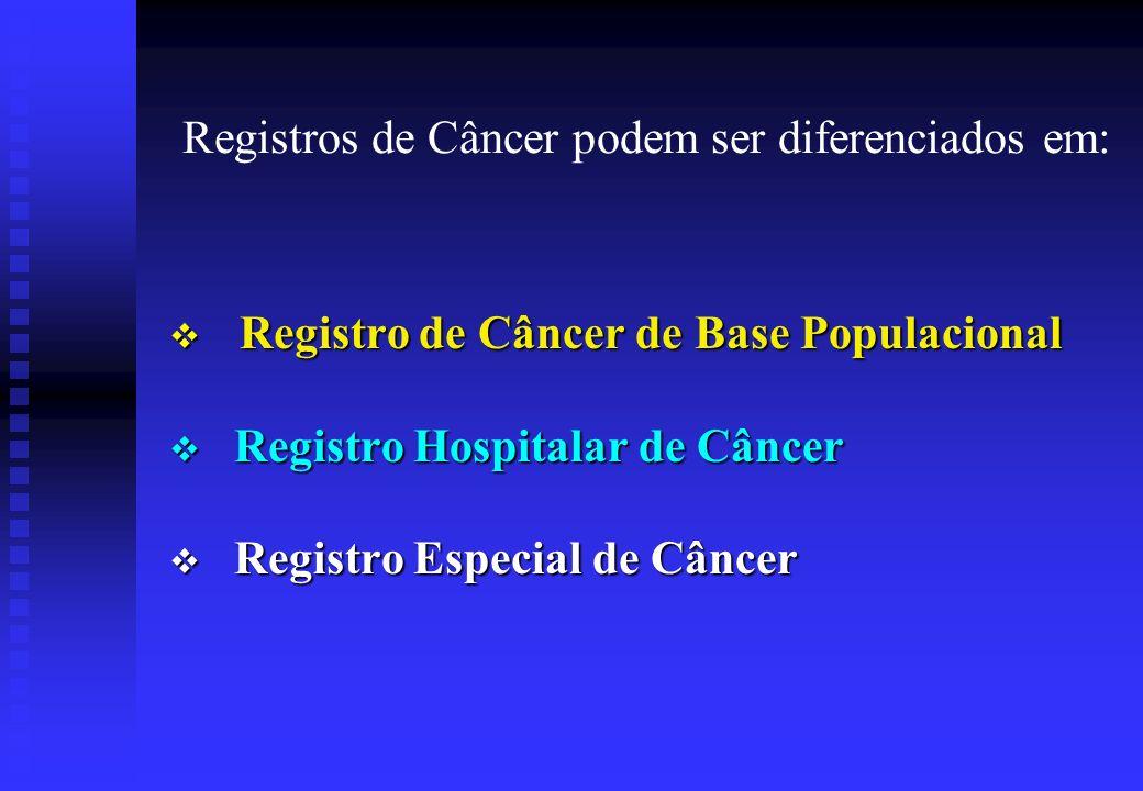 Registros de Câncer podem ser diferenciados em: