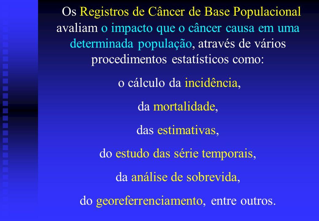 Os Registros de Câncer de Base Populacional avaliam o impacto que o câncer causa em uma determinada população, através de vários procedimentos estatísticos como: