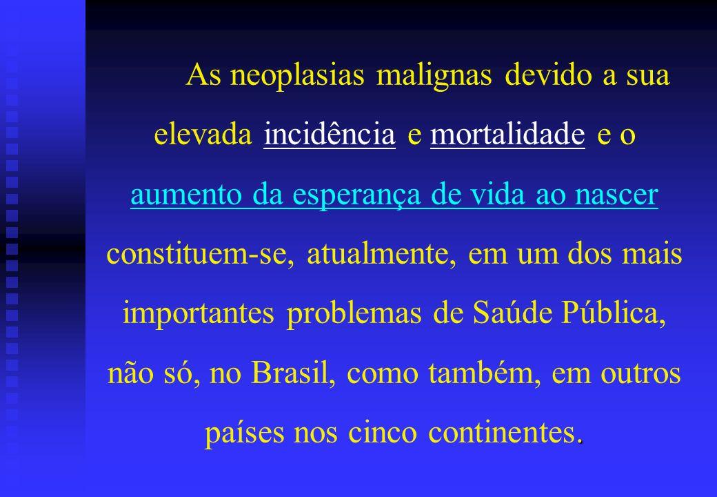 As neoplasias malignas devido a sua elevada incidência e mortalidade e o aumento da esperança de vida ao nascer constituem-se, atualmente, em um dos mais importantes problemas de Saúde Pública, não só, no Brasil, como também, em outros países nos cinco continentes.